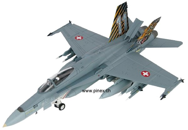 Picture of F/A-18 Hornet Swiss Air Force Sqn 11 in the Tiger Meet colors, Die Cast Model from Hobbymaster 1:72