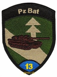 Photo de Pz Bat 13 Panzer Bataillon 13 blau mit Klett, Panzerbadge