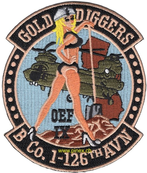 Picture of B Company 1-126th Aviation Patch Gold Diggers OEF Abzeichen