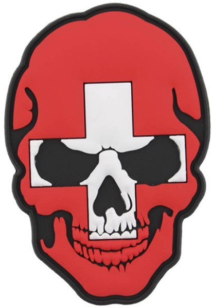 Bild von Skull Switzerland Flag PVC Rubber Patch