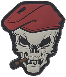 Photo de Smoking Skull Cigar Skull Red Beret PVC Rubber Patch
