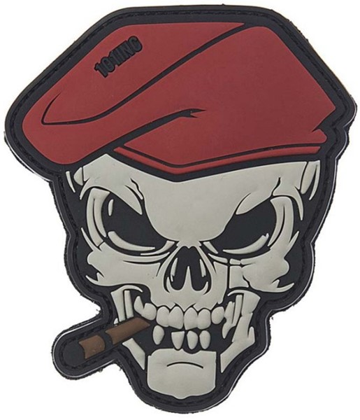 Picture of Smoking Skull Cigar Skull Red Beret PVC Rubber Patch