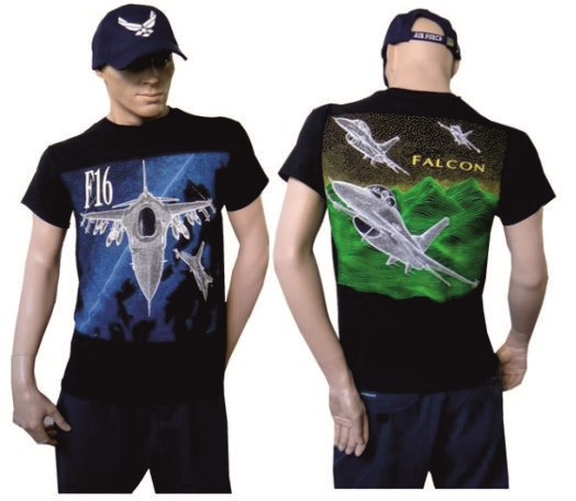 Picture of F16 Falcon Fighting Jet T-Shirt, blau-grün