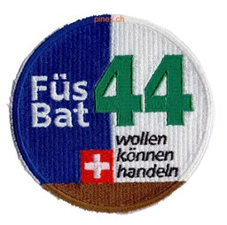 Photo de Bat fus 44 brun Badge militaire suisse